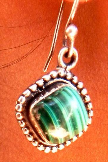 Envy I Malachite silver earrings a