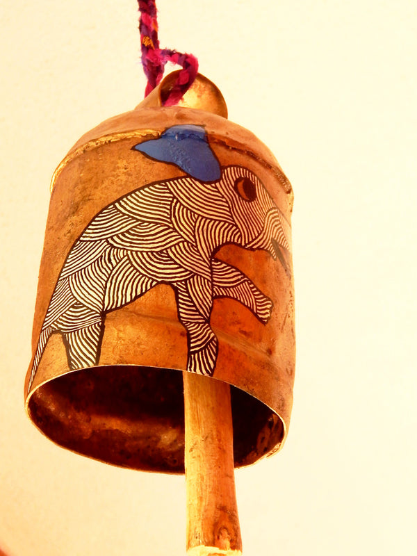 Earthy tones series ghantada VII painted cow bell a