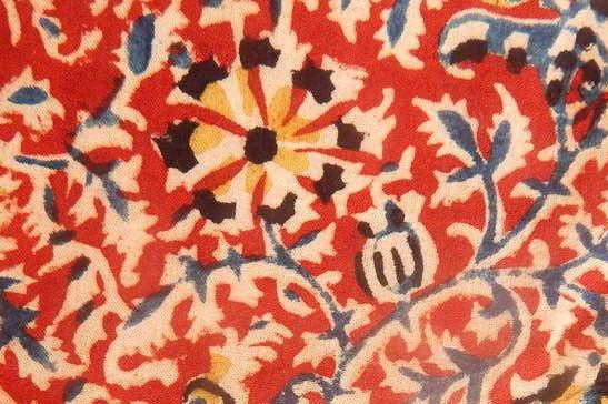 Organic cotton kalamkari handblock print with floral motif fabric a