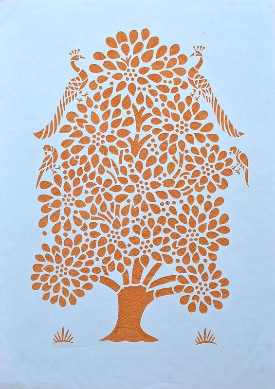 Tree of Life series tree with birds II sanjhi folk art