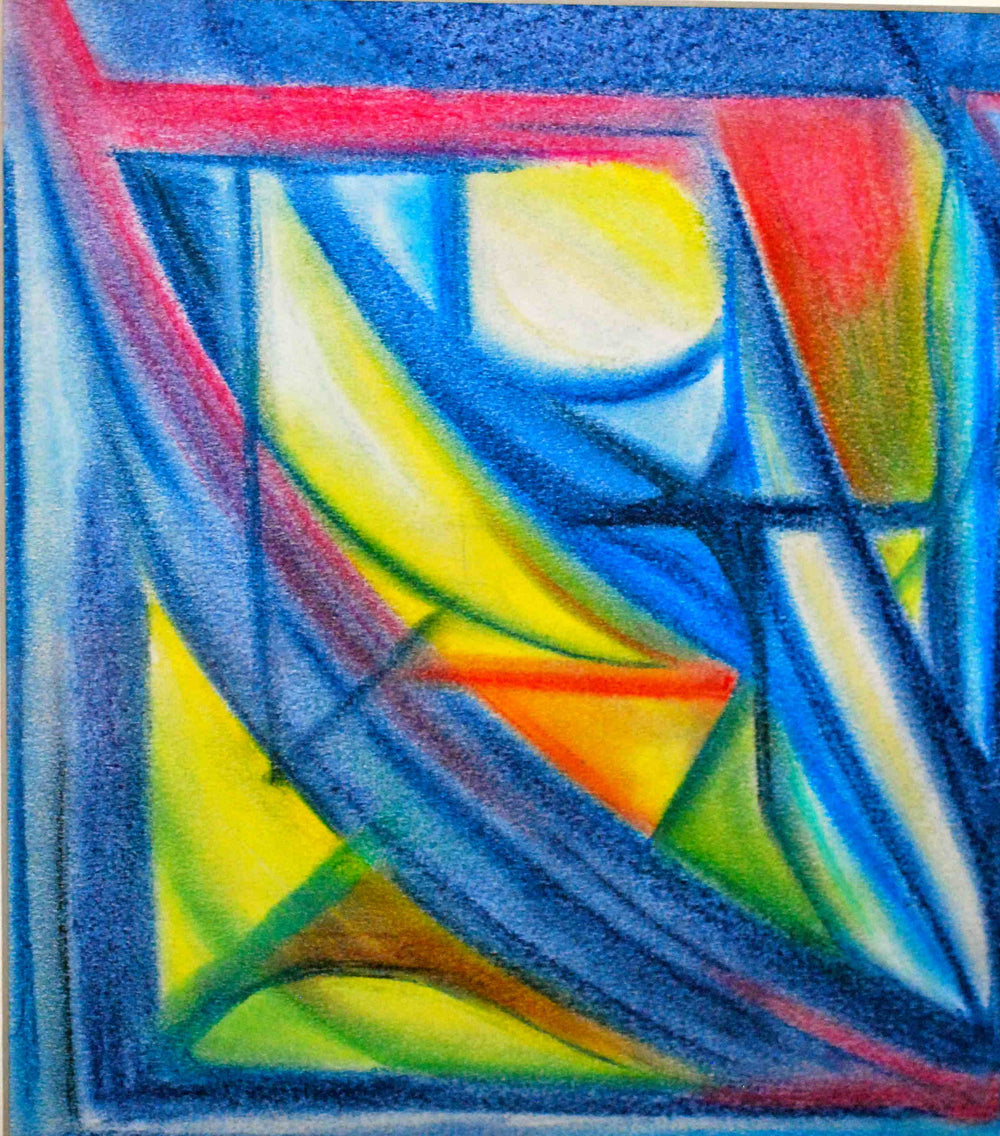 Shades of blue, yellow, red abstract art on paper mounted