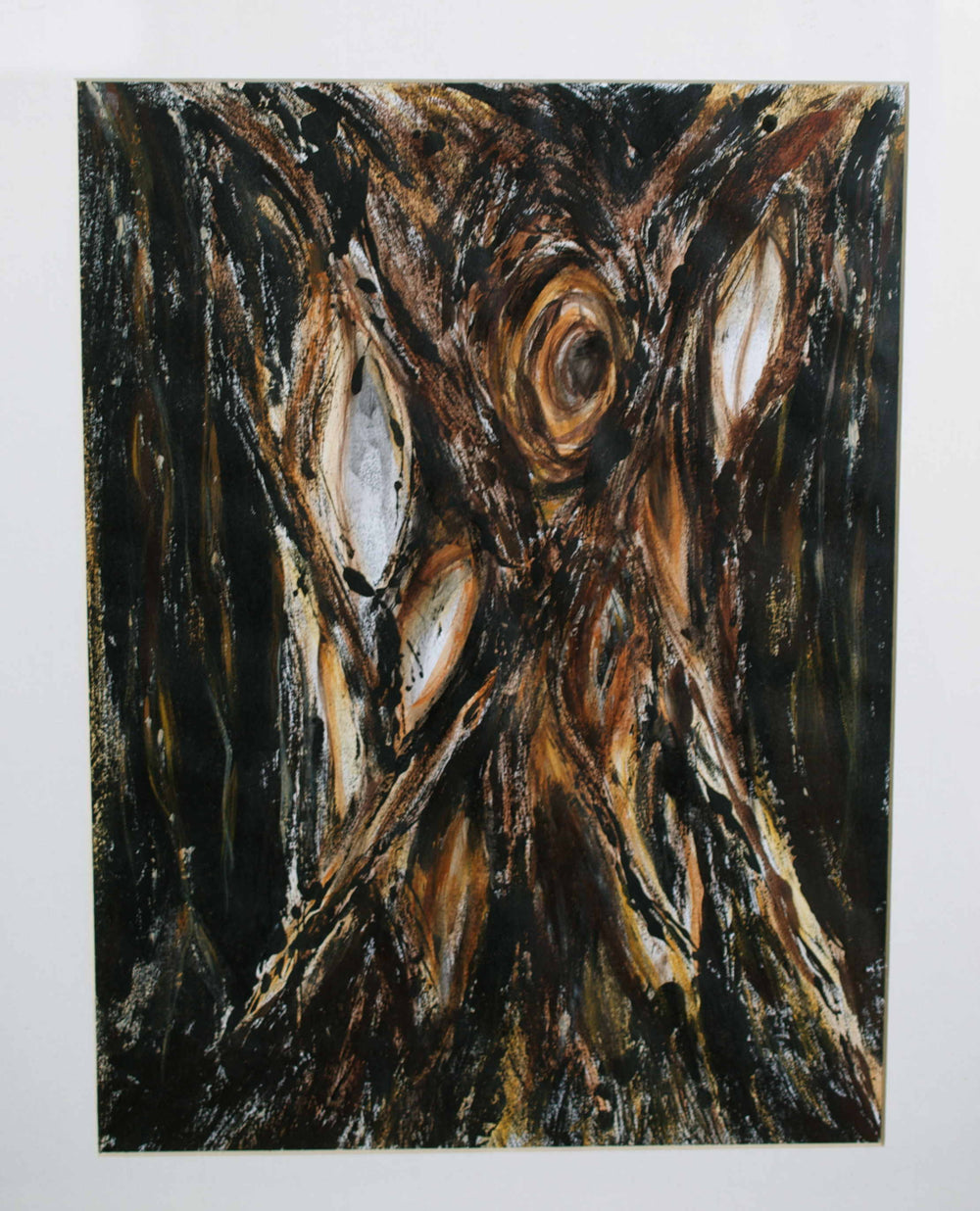Shades of black, and brown tree trunk abstract art on paper mounted