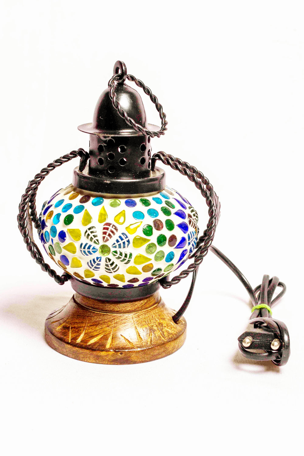 Metal and glass with wood, mosaic lantern