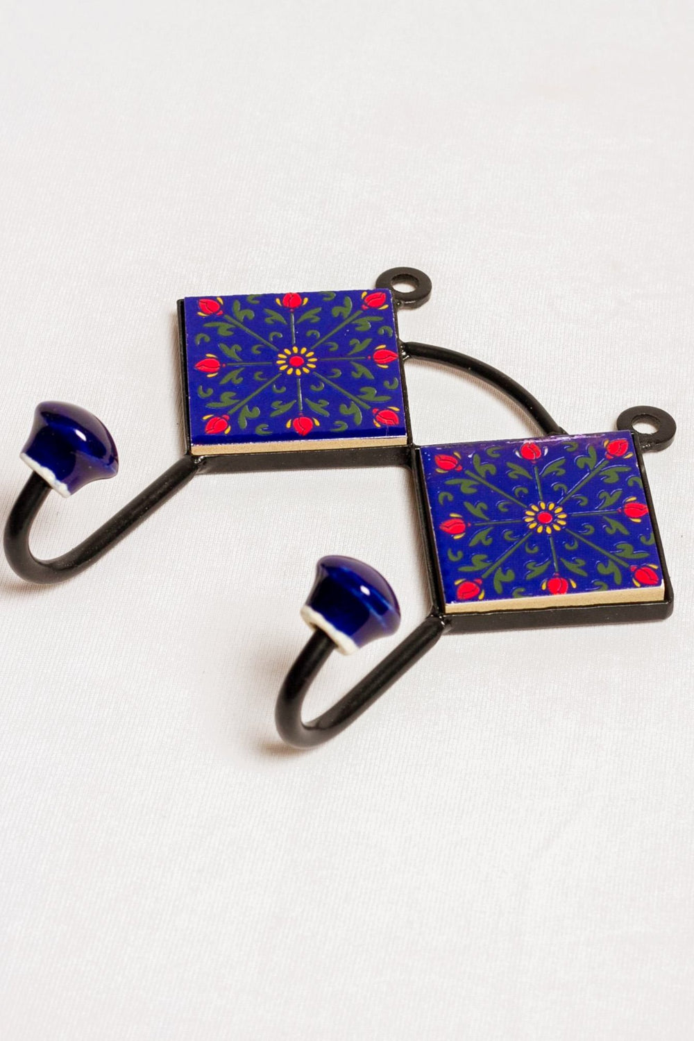 Metal and 2 ceramic tiles 2 wall hook, blue with red floral motif
