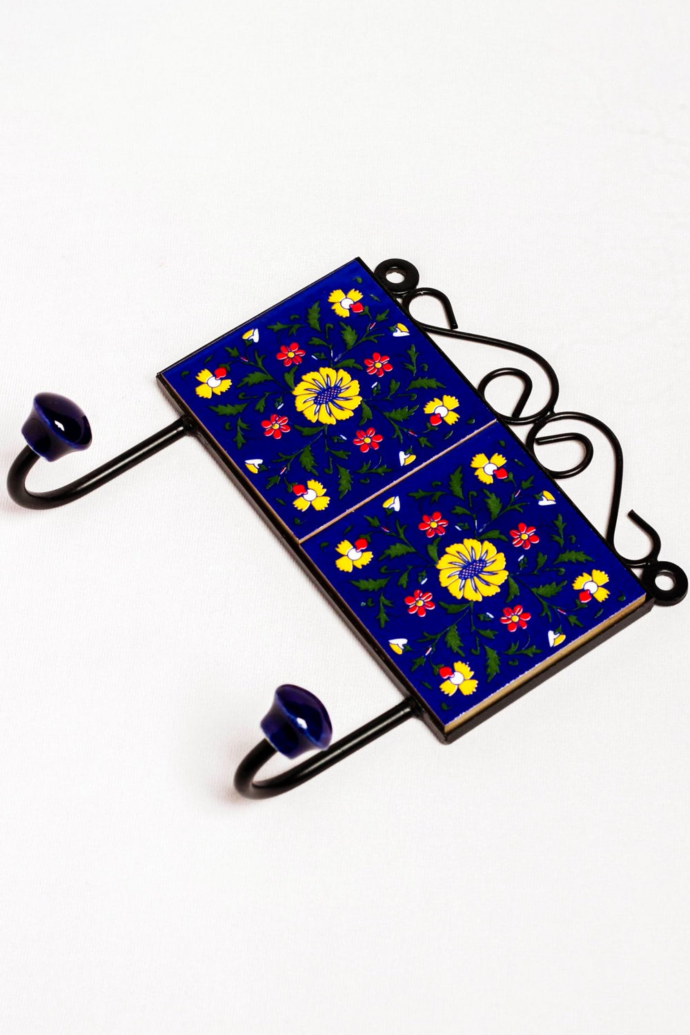 Metal and twin ceramic tile wall hook, blue with yellow and red floral motif