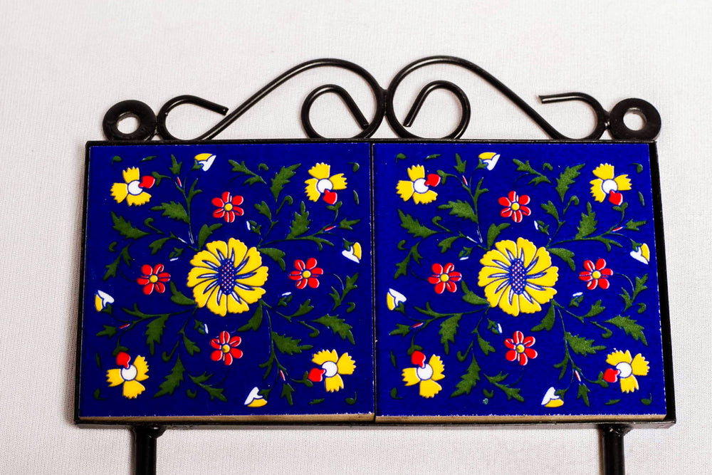 Metal and twin ceramic tile 2 wall hook, blue with yellow and red floral motif