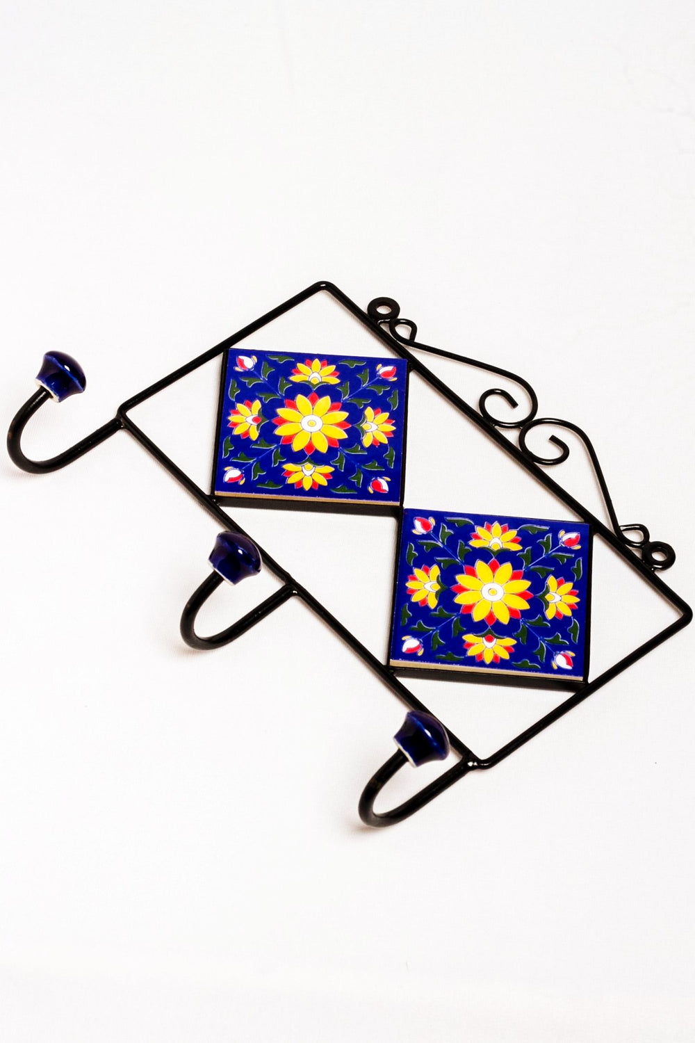 2 tiled 3 wall hook frame blue with yellow and blue floral motif