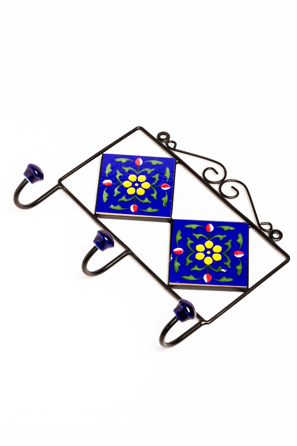 2 tiled 3 hook frame blue with yellow and red floral motif