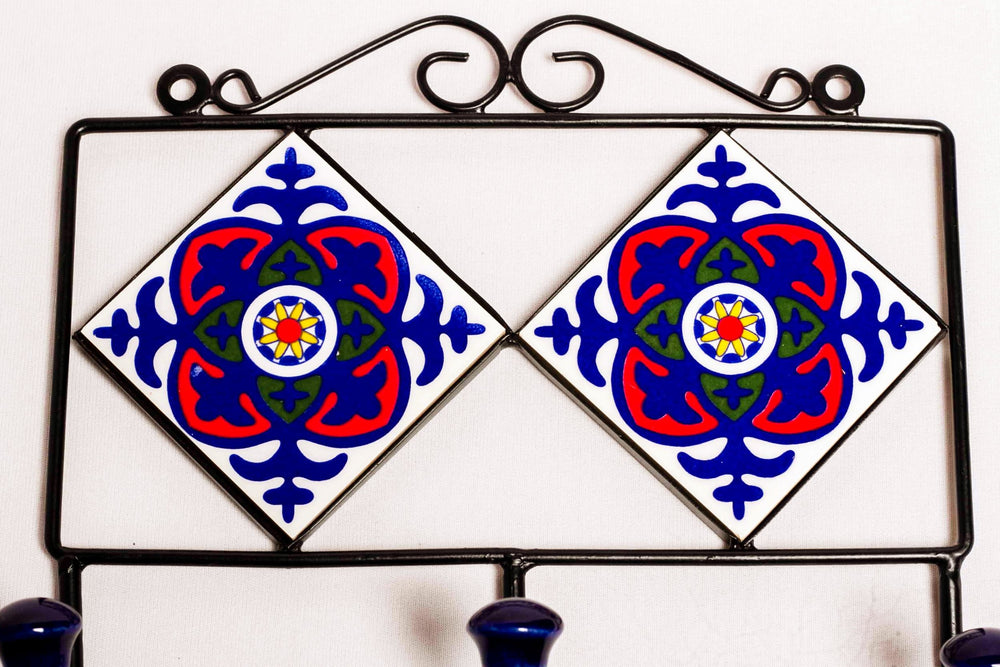 Metal and  2 tile ceramic wall hook hanger in frame