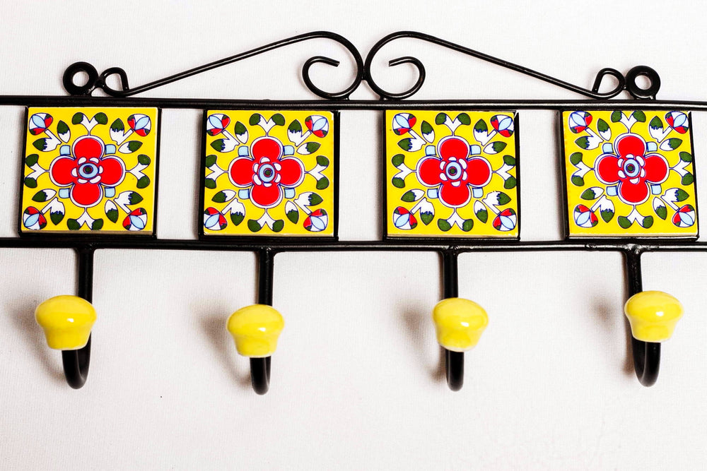 Metal and 4 ceramic tile 4 wall hook, yellow with blue and red floral motif