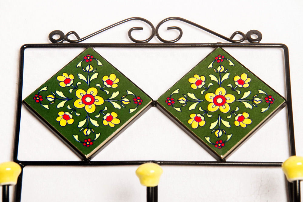Metal and ceramic wall hook hanger in frame
