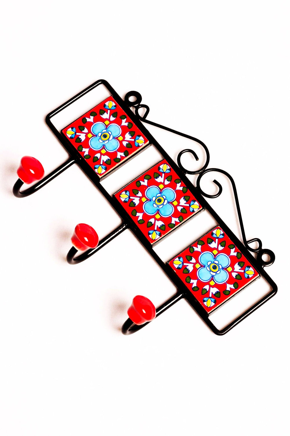Metal and three square ceramic tile with a 3 peg wall hook, red with blue and white floral motif