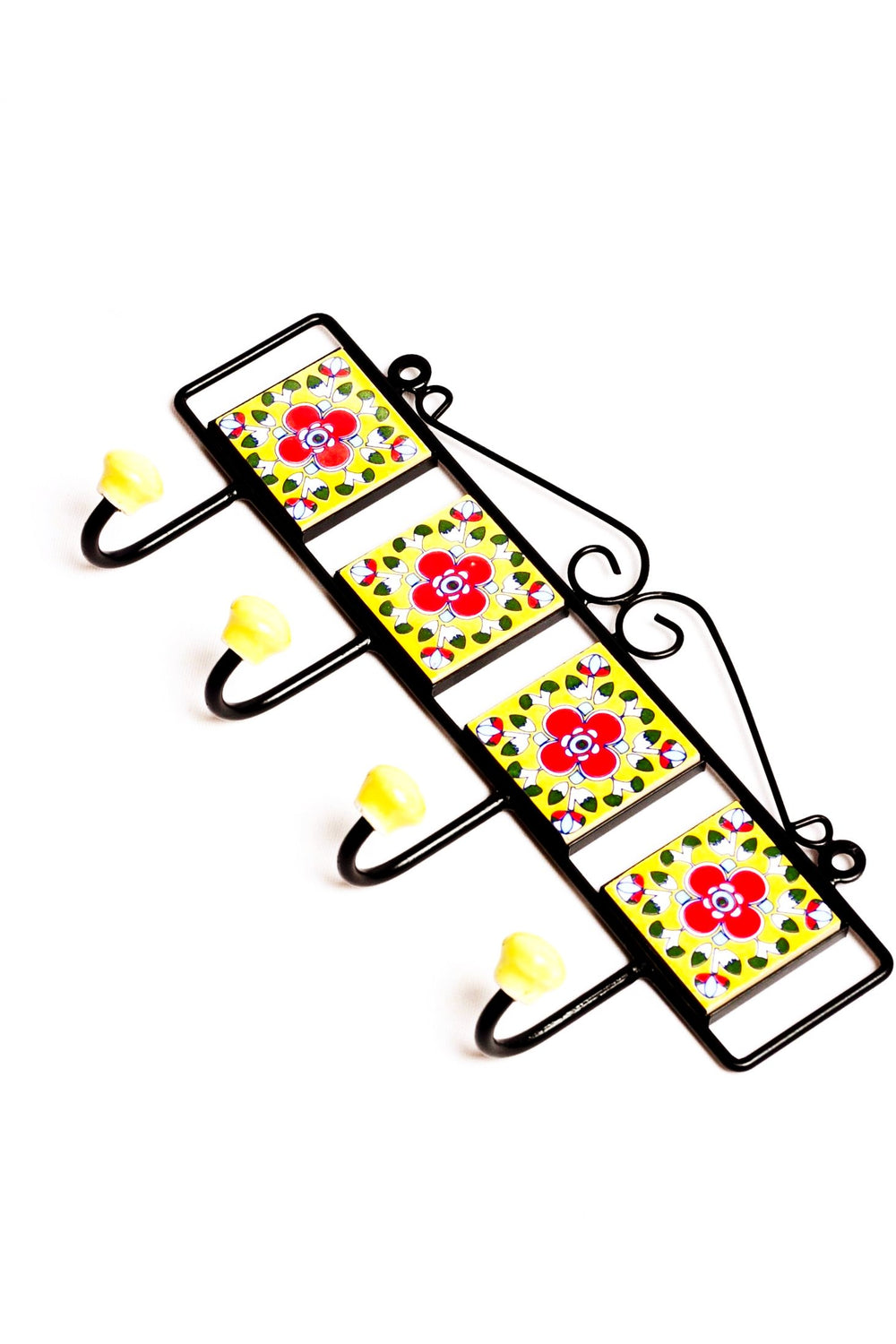 Metal and three square ceramic tile with a 3 peg wall hook, yellow with red and white floral motif