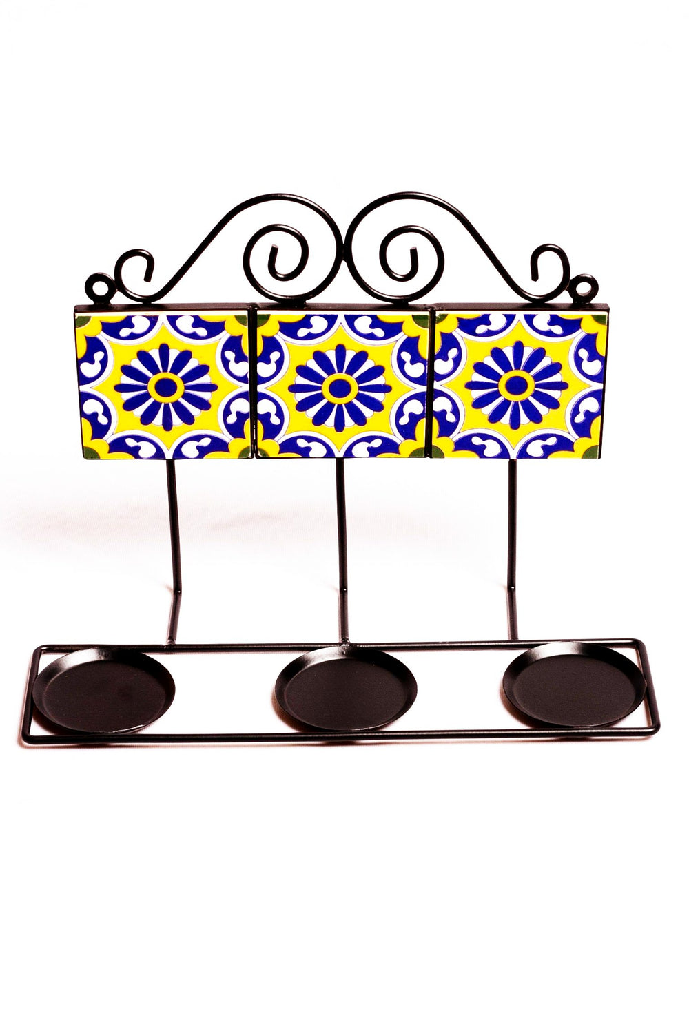 Three ceramic tiled square wall T light holder in yellow with blue and white floral motif