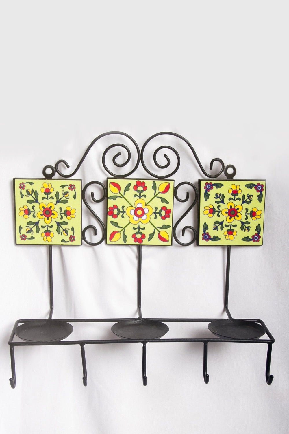 Three ceramic tiled square wall T light holder with hooks in green with yellow and red floral motif