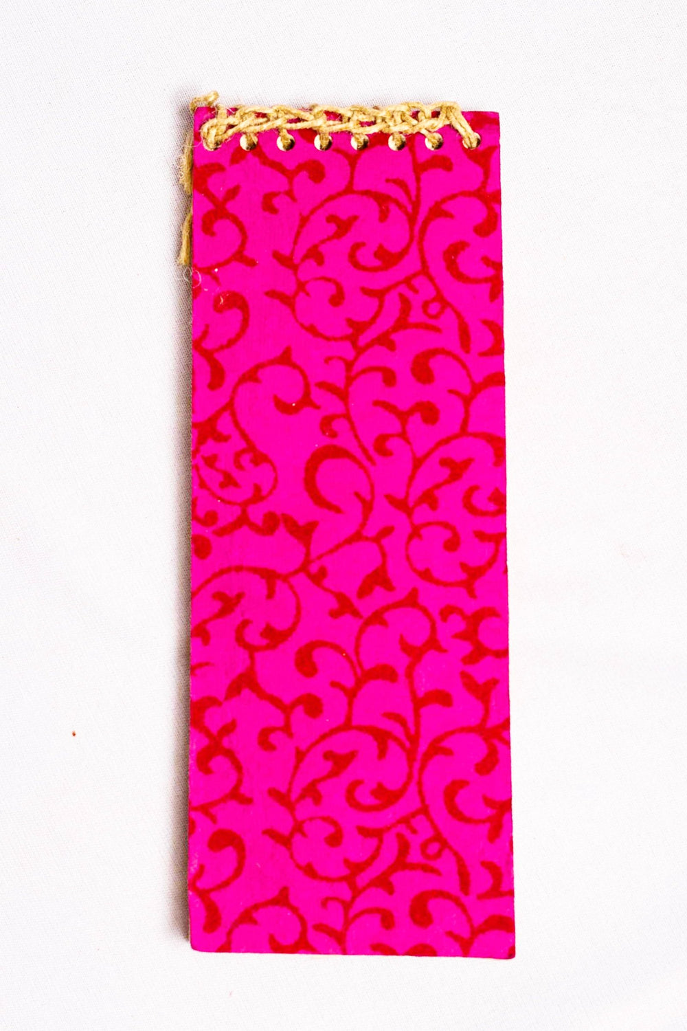 Pink with leafy motif cover handmade paper notepad with magnetic back