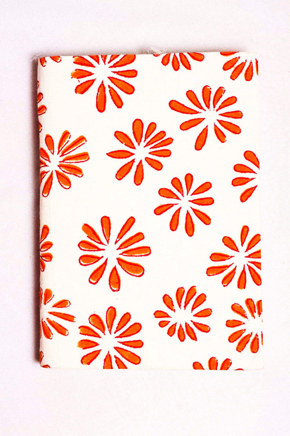 fabric covered handmade paper notebook with floral motif