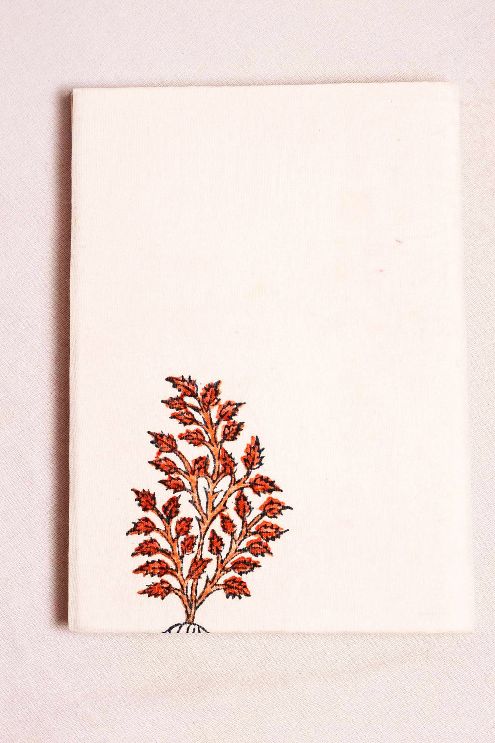 fabric covered handmade paper notebook with tree motif