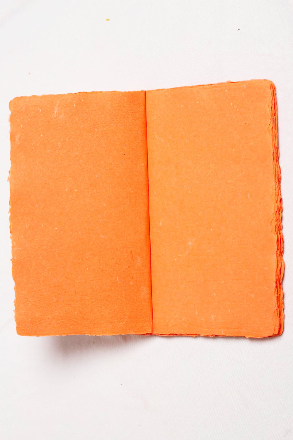 Orange deckle edge paper handstitched notebook