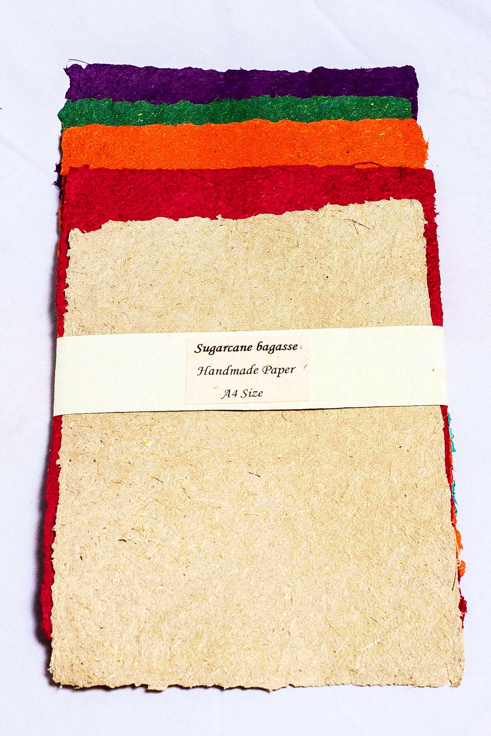 Handcrafted sugarcane paper set of assorted color sheets