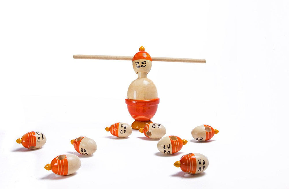 Ravana channapatna toys wooden stacking and balancing toy