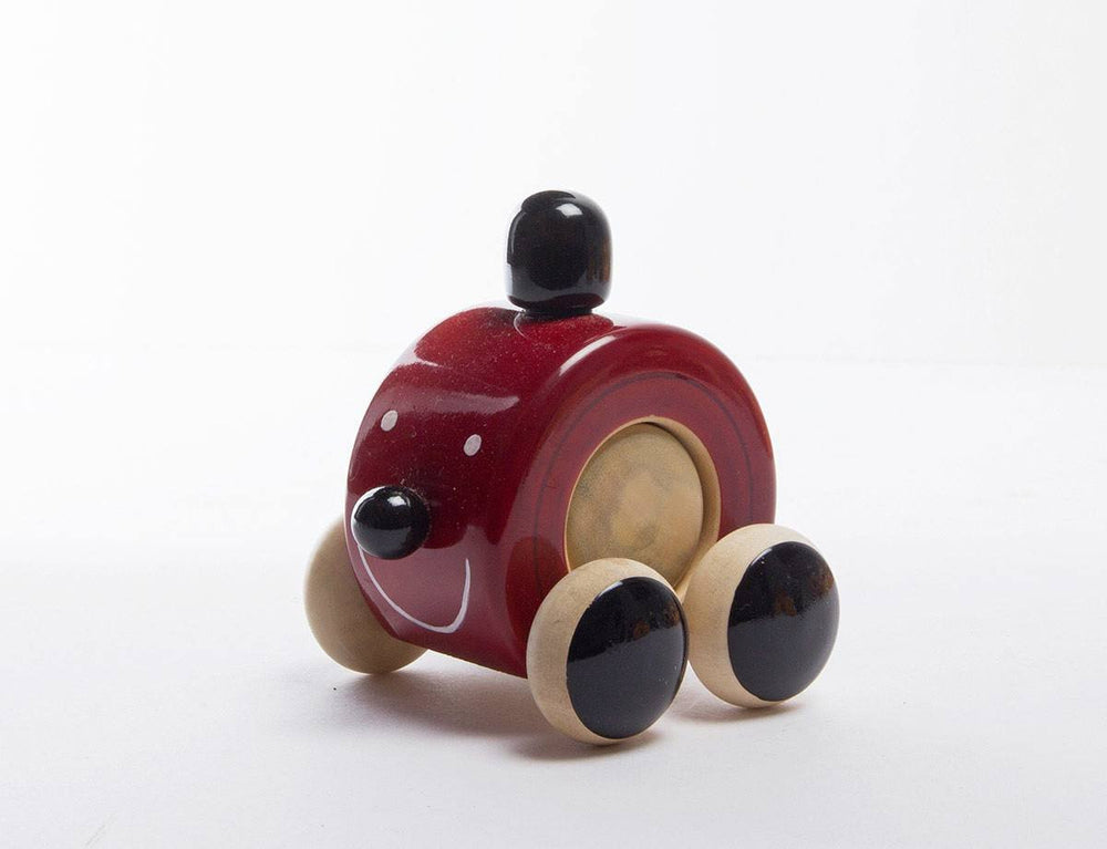 Mooki Moo channapatna toys wooden push toy red black