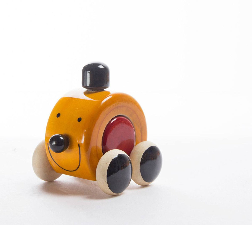 Mooki Moo channapatna toys wooden push toy yellow red black