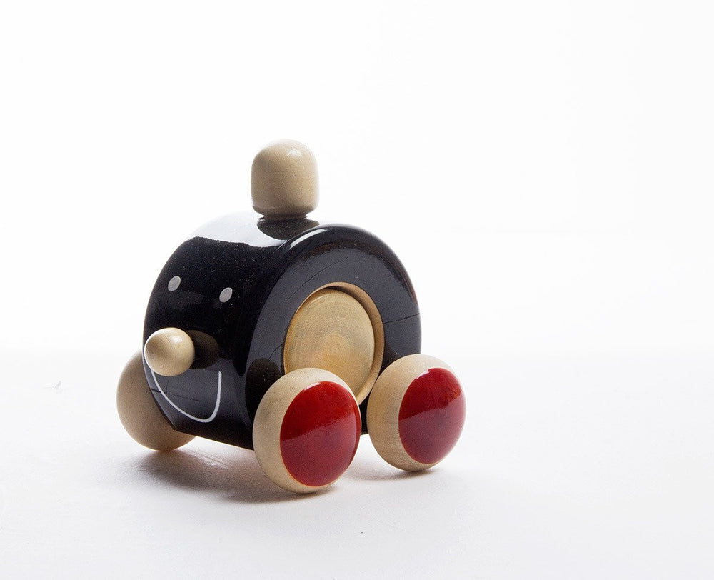 Mooki Moo channapatna toys wooden push toy black red