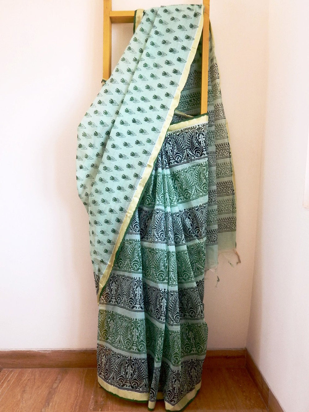 Bengal weaves series featherlight I cotton hand blocked printed saree a