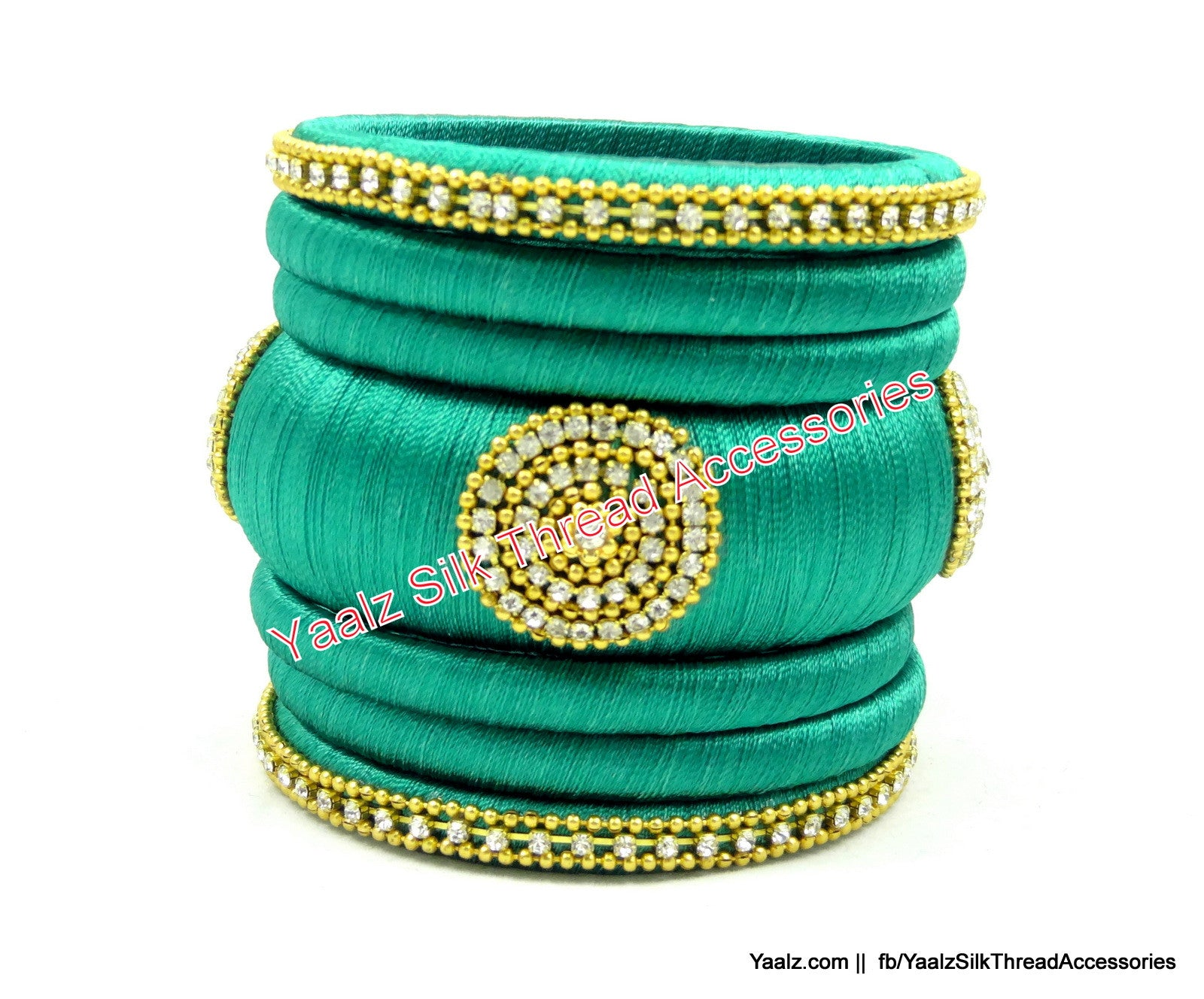 Yaalz Assorted Silk Thread Bangle Collection in Sea Green Color(s)