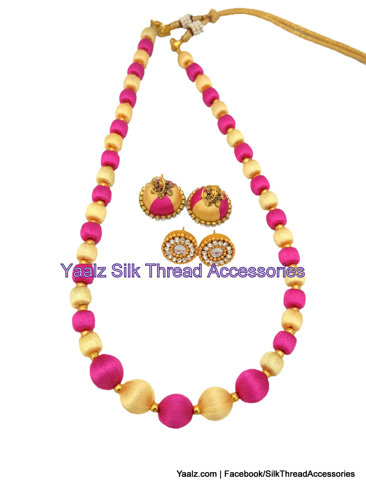 Yaalz traditional simple neckset matching jumka combo in pink and cream colors