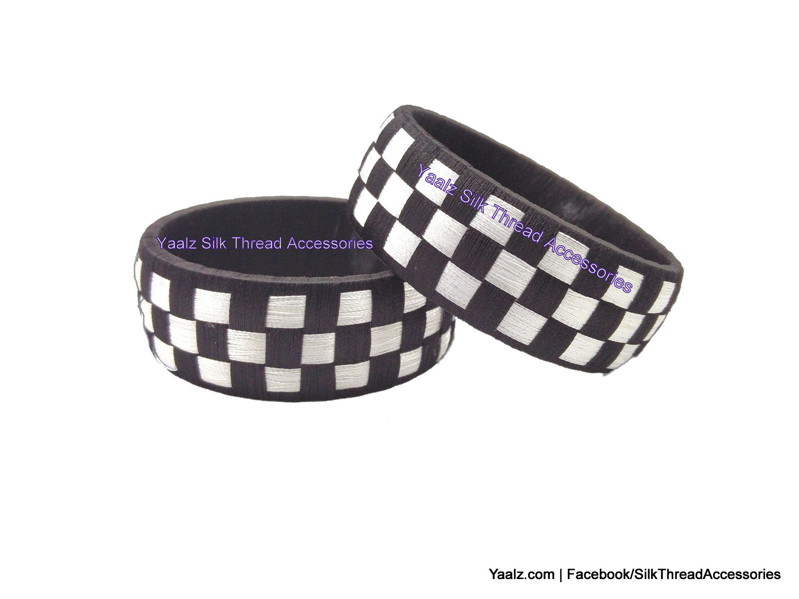 Yaalz Checker Bangles in Black and White Color(s)