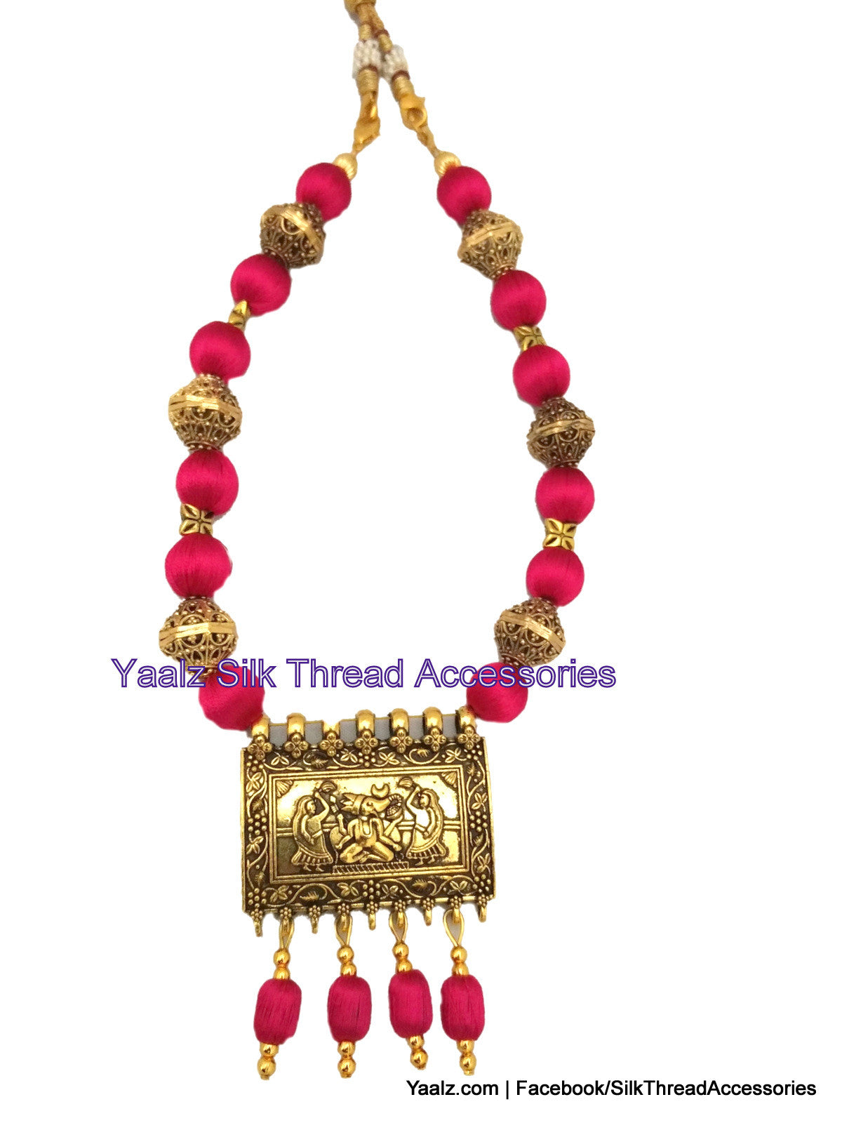 Yaalz silk thread traditional antique pendant neckset in red color silk thread bangle earring jumka yaalz silk thread traditional antique pendant neckset in red color mozeypictures Gallery