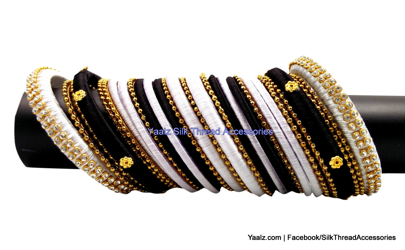 Yaalz Partywear Bangles in Black & White Color(s)