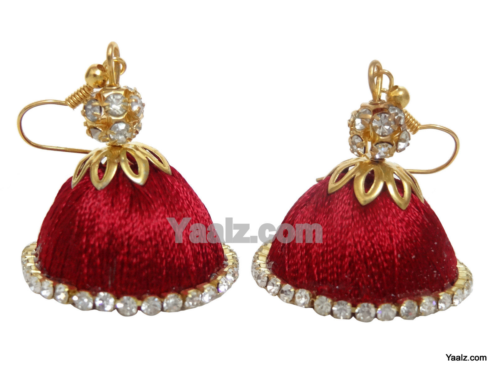 antique chandbali finish silk earrings pin with black