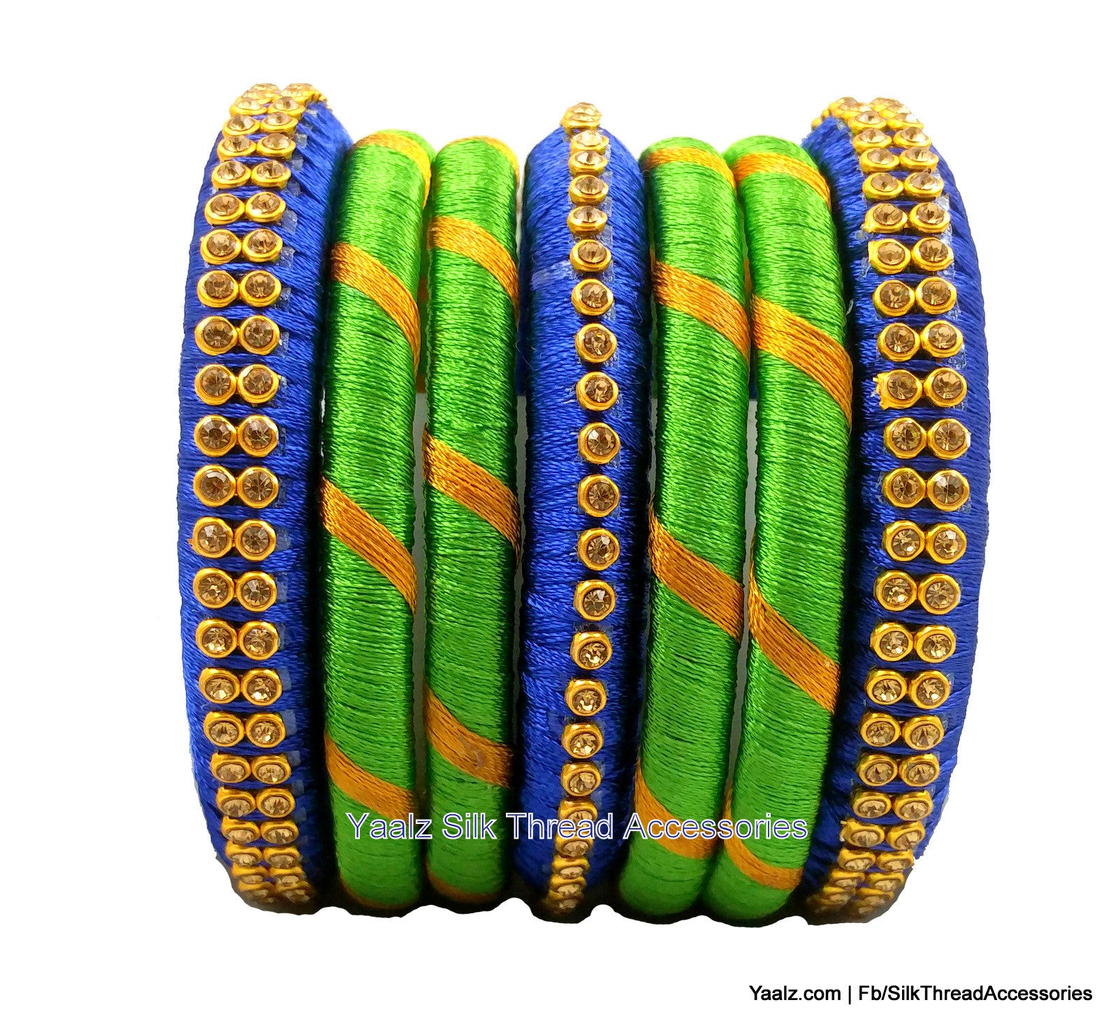 Yaalz Assorted Bangles Set in Royal Blue And Parrot Green Colors