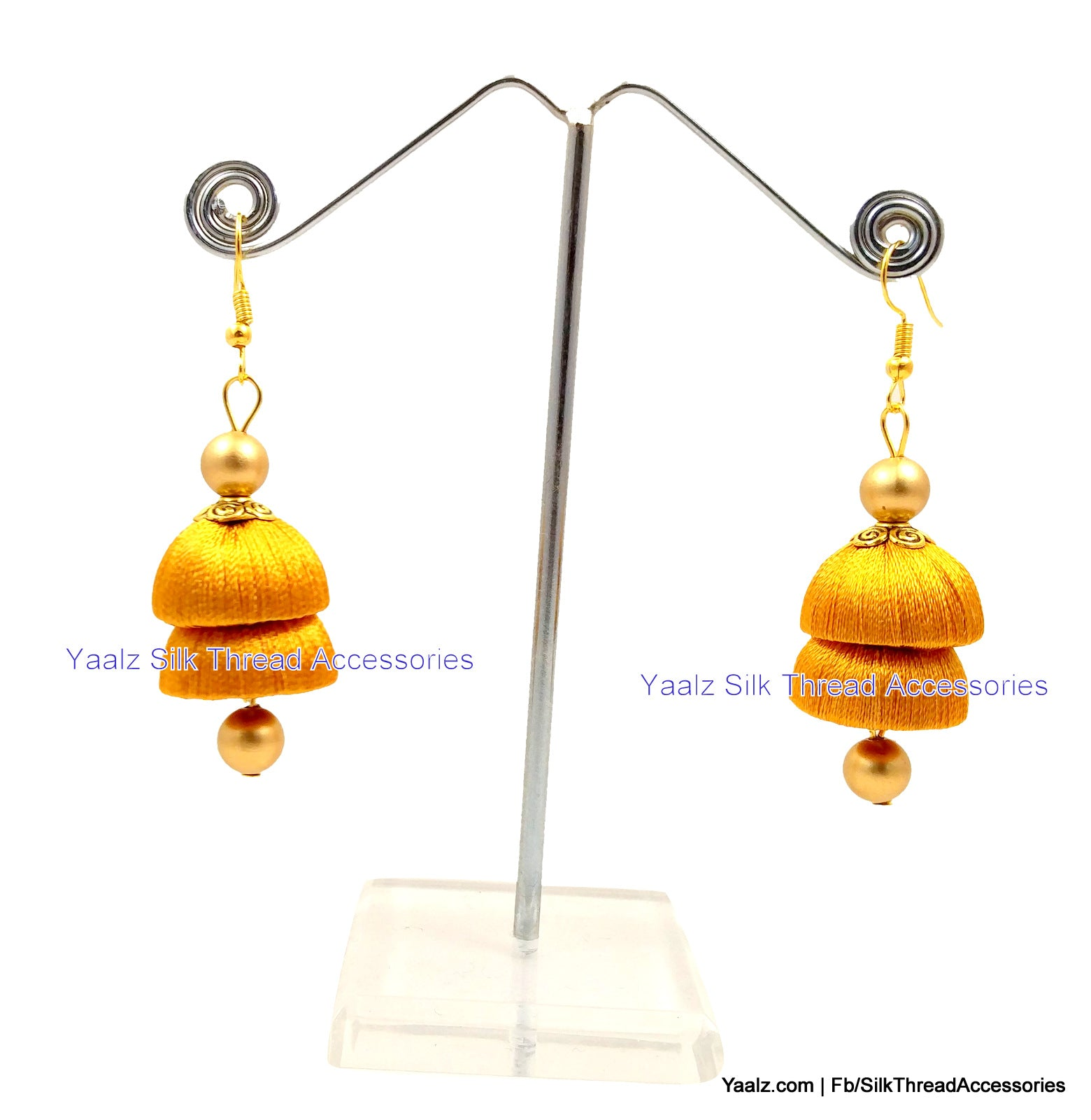 Yaalz Simple Double Layer Jhumka Earring In Gold Color