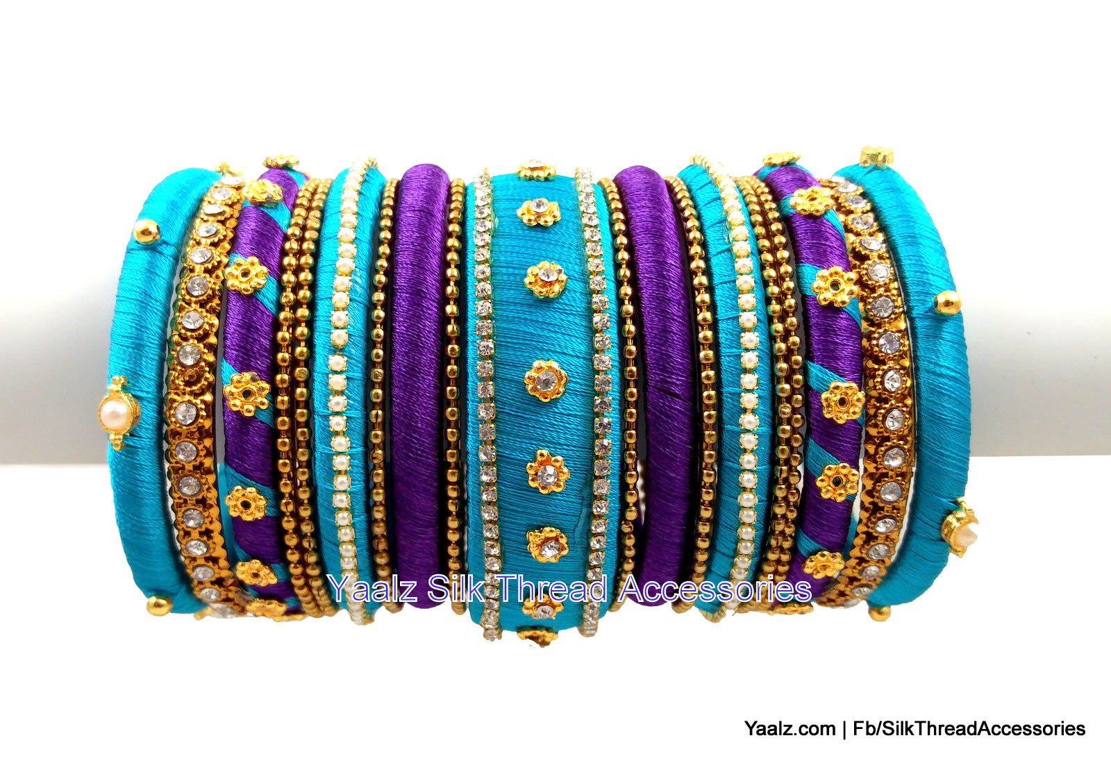 yaalz bridal partywear bangles set in purple and blue colors