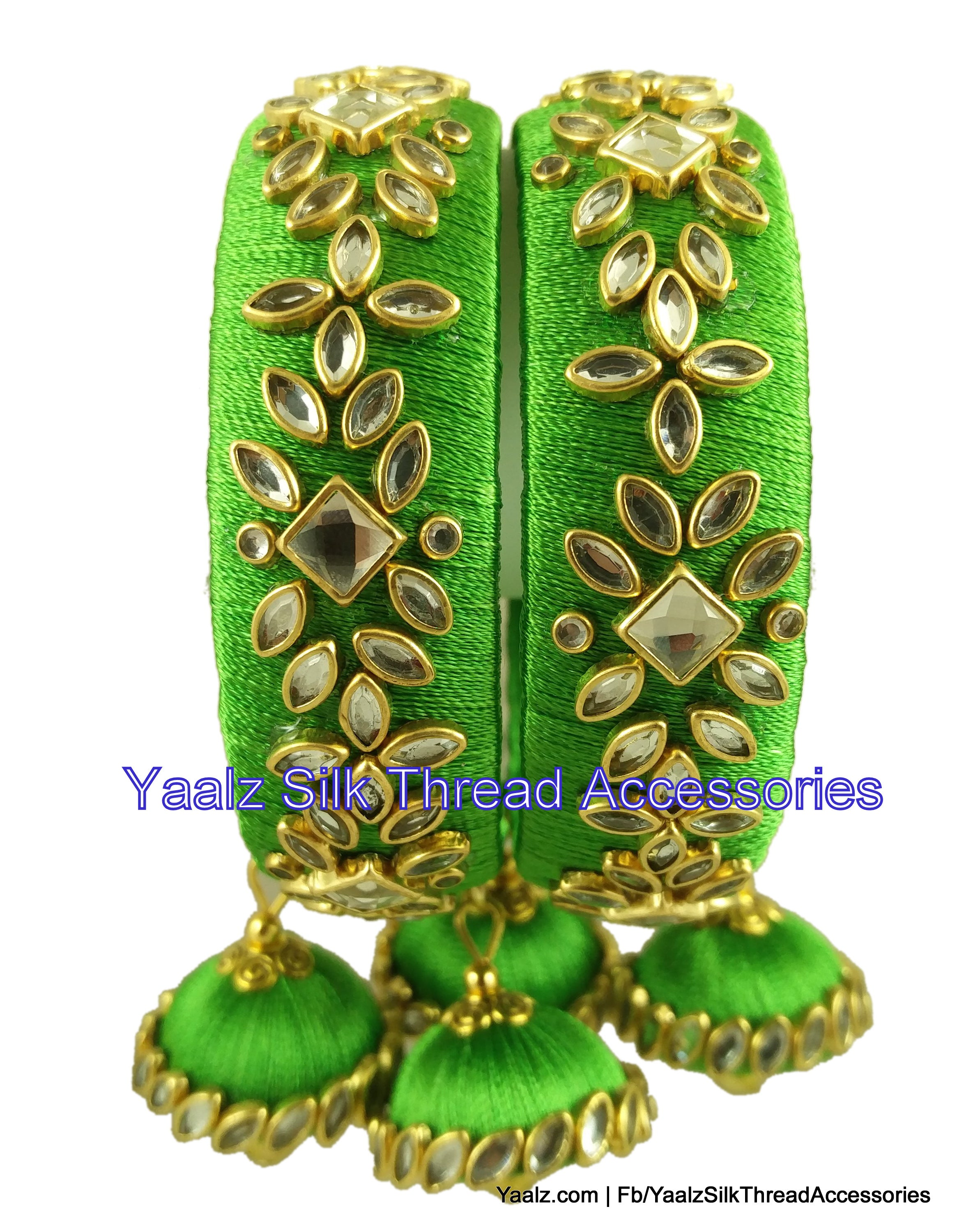elegant bang red metal bangles golden stone studded with green