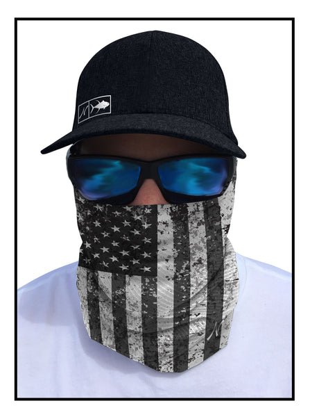 Black & White Beauty Fishing Face Guard Sun Mask Front View