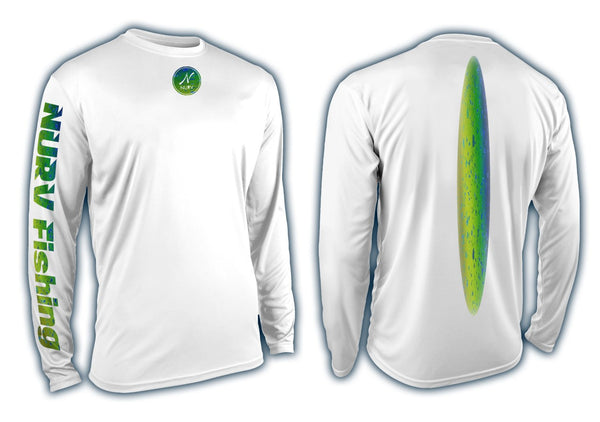 Mad Mahi Performance Long Sleeve Fishing Shirt Front and Back View