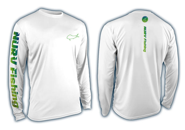 Nurv Dorado Performance Long Sleeve Fishing Shirt Front and Back View