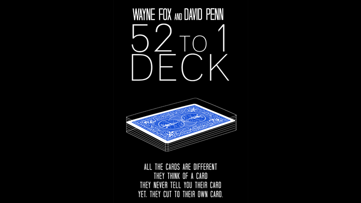 The 52 to 1 Deck Blue (Gimmicks and Online Instructions) by Wayne Fox and David Penn