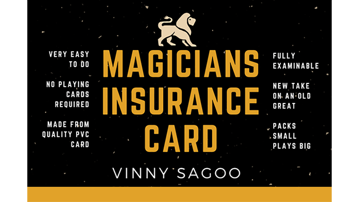 Magicians Insurance Card (Gimmicks and Online Instructions) by Vinny Sagoo