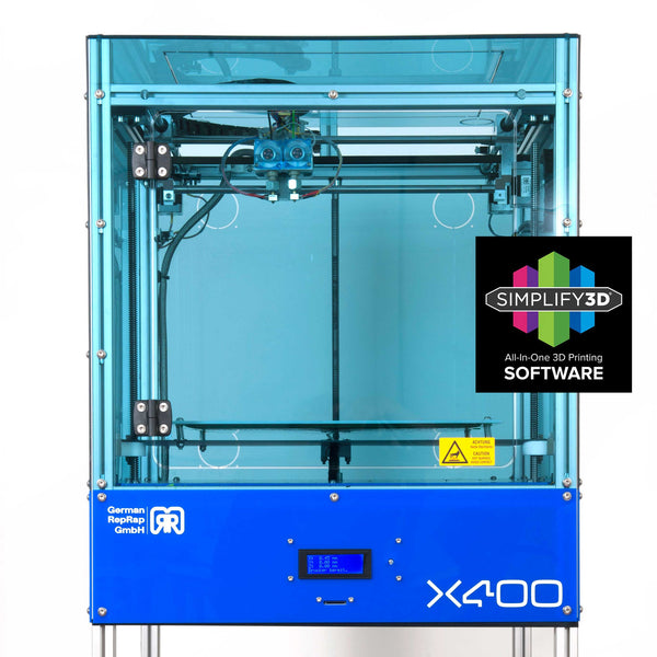 3d printer, X400, Open Source, Heated Build Plate, GRR, German Engineering, dual extruder,