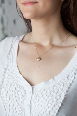 Small Modern Heart Charm Necklace