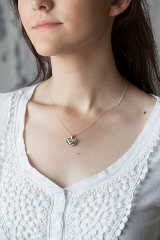 Medium Traditional Heart Charm Necklace with Blue Gemstone