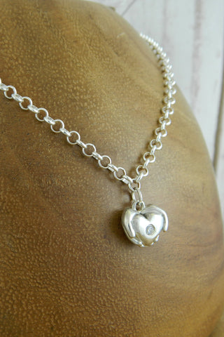 Small Modern Heart Charm Bracelet with Crystal Gemstone