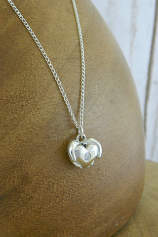 Small Modern Heart Charm Necklace with Crystal Gemstone