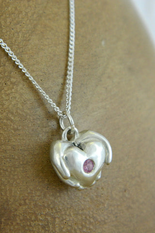 Small Modern Heart Charm Necklace with Pink Gemstone